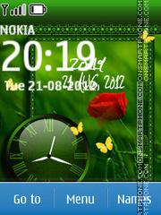 Nature Green Dual Clock tema screenshot