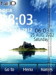 Island Digital Clock theme screenshot