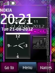 Nokia Purple Clock theme screenshot