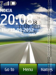 Road Digital Clock es el tema de pantalla