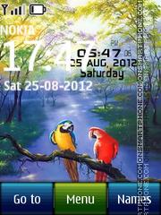 Скриншот темы Parrots Digital Clock