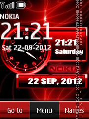 Red Nokia Dual Clock theme screenshot