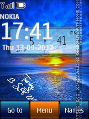 Sunset Sea Digital Clock theme screenshot