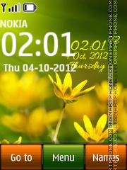 Flower Digital Clock theme screenshot