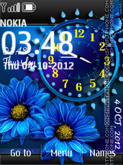 Blue flower dual clock theme screenshot