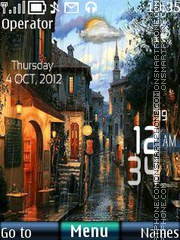 Rain Digital Clock theme screenshot