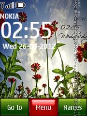 Summer Flower Digital Clock theme screenshot