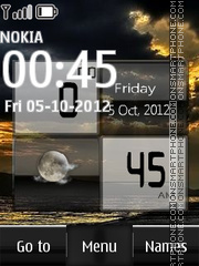 Sunset Digital Clock 01 theme screenshot