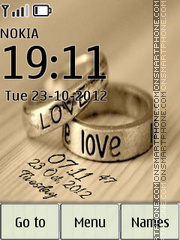 Love Rings Digital Clock theme screenshot