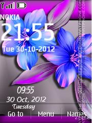 Blue Flower Digital Clock theme screenshot