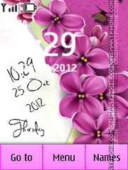 Скриншот темы Pink Flowers Digital Clock