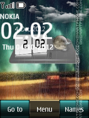 Rain Digital Clock 01 theme screenshot
