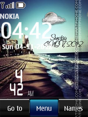 Sea Digital Clock theme screenshot