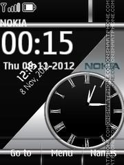 Grey Nokia Dual Clock theme screenshot