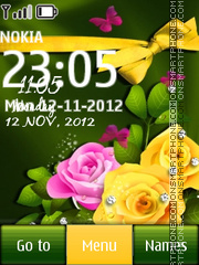 Pink and Yellow Roses Clock theme screenshot