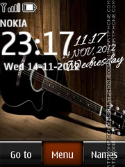 Guitar Digital Clock theme screenshot