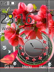 Red flower dual clock theme screenshot