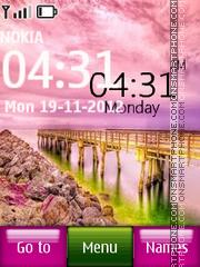 Pink nature digital clock theme screenshot