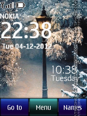 Скриншот темы Winter snow digital clock