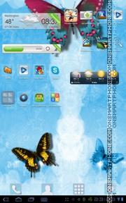 Скриншот темы Golauncher Blue Butterflies