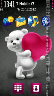 Teddy bear pink heart. theme screenshot