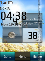 Blue nature digital clock theme screenshot