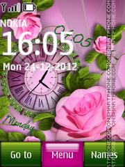 Pink Rose Dual Clock theme screenshot