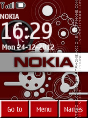 Nokia Red Clock 01 theme screenshot