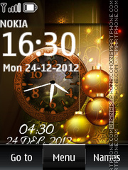 Скриншот темы Golden Christmas Dual Clock
