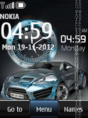Blue Car Dual Clock theme screenshot