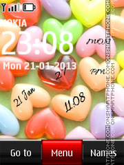 Colorful Hearts Digital Clock theme screenshot
