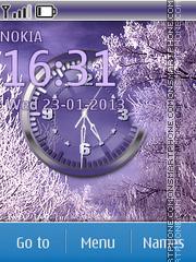 Purple Winter Clock theme screenshot