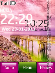 Pink Nature Digital Clock 01 theme screenshot