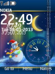 Скриншот темы Snow Man Dual Clock