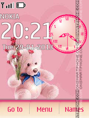 Pink Mishka with flowers theme screenshot