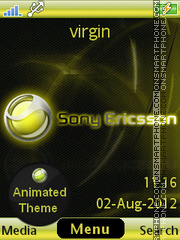 Yellow Sony Ericsson theme screenshot