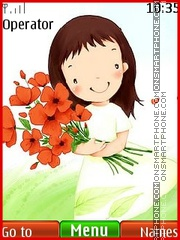 LİttLe GirL With Red Flower theme screenshot