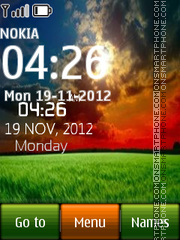 Sunset Field Digital Clock theme screenshot