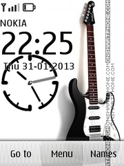 White Guitar & Clock theme screenshot