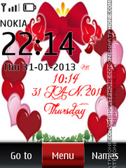 Hearts Digital Clock 01 theme screenshot