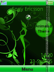 Green Sony Ericsson theme screenshot
