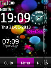 Purple Nokia Abstract Clock theme screenshot