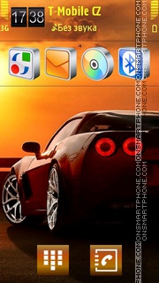 Скриншот темы Sport Car in Sunset