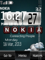 Nokia Digital Clock With Clouds theme screenshot