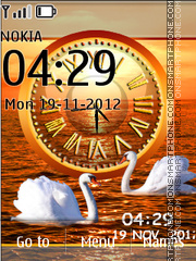 Swans Love Dual Clock theme screenshot