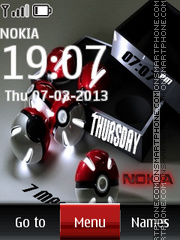 Balls Nokia Digital Clock tema screenshot