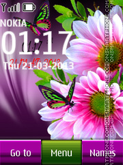 Green Buttefly Digital Clock theme screenshot