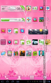 Pink Theme Flowers tema screenshot