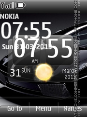 Lamborghini Black With Clock theme screenshot
