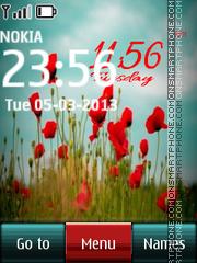 Flower Digital Clock Red theme screenshot
